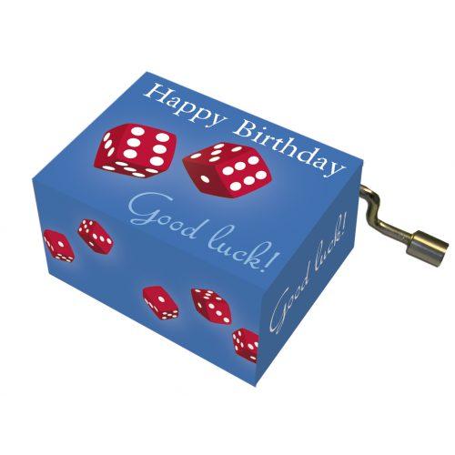 Muziekdoosje Good luck en dobbelstenen met melodie Happy Birthday