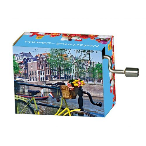 Muziekdoosje Holland fiets op gracht melodie Tulpen uit Amsterdam