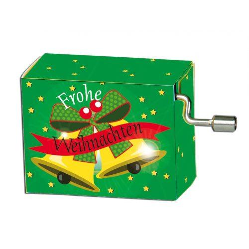 Muziekdoosje kerst groen met bellen melodie Jingle bells