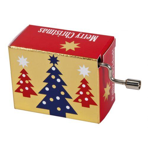 Muziekdoosje kerst kerstbomen met melodie Stille nacht