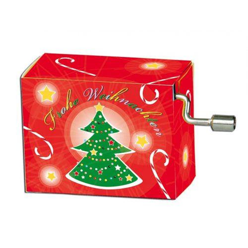 Muziekdoosje kerst rood met kerstboom melodie O denneboom