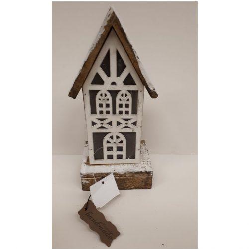 Handgemaakt houten kersthuisje met led verlichting