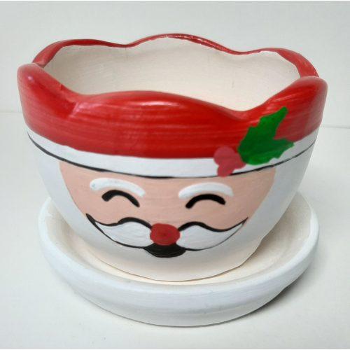 Fairtrade winter of kerst bloempotje waxinelichtje kerstman met schotel rond