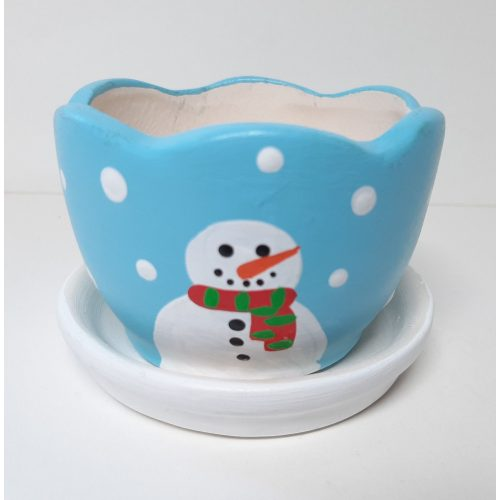 Fairtrade winter of kerst bloempotje waxinelichtje lichtblauw met schotel rond