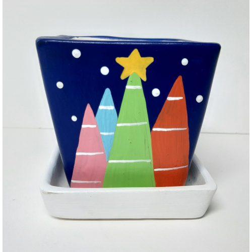 Fairtrade winter of kerst bloempotje waxinelichtje sterrennacht met schotel vierkant
