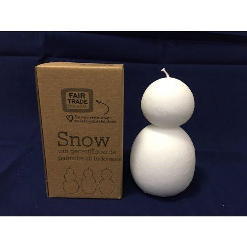 Fairtrade kaars winter sneeuwman 2 bollen uit Indonesië