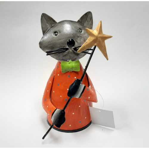 Fairtrade metalen beeldje kat met ster op stok gemaakt van verfblikken
