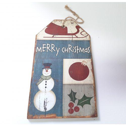 Houten tekstbord kerst Merry Christmas met sneeuwpop