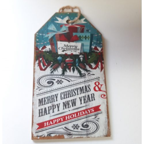 Houten tekstbord kerst bont Merry Christmas and happy new year