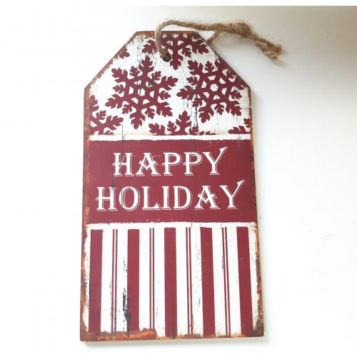 Houten tekstbord kerst rood en wit Happy holiday