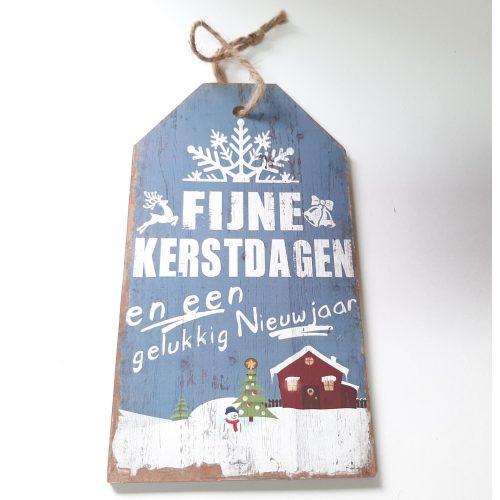 Houten tekstbord lichtblauw Fijne kerstdagen en een gelukkig nieuwjaar