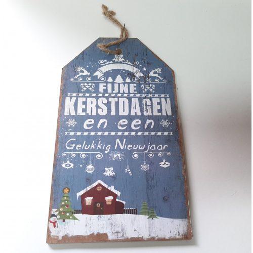 Houten tekstbord lichtblauw Fijne kerstdagen en een gelukkig nieuwjaar versie-2
