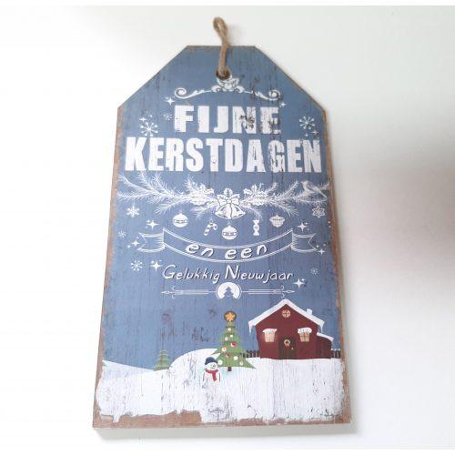 Houten tekstbord lichtblauw Fijne kerstdagen en een gelukkig nieuwjaar versie-3