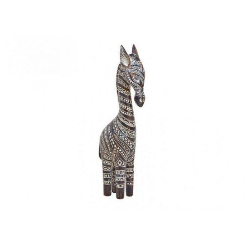 Beeld giraffe houtlook decoratief 32cm hoog