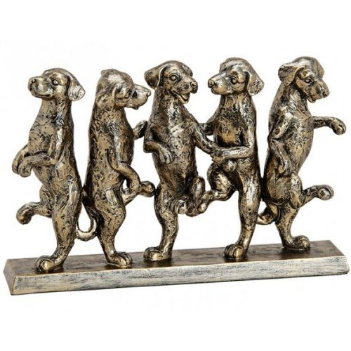 Beeld dansende honden in goud en zwart tinten