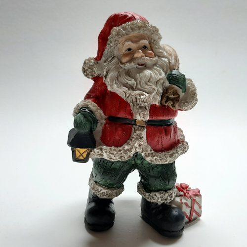 Beeldje kerstman met zak over de schouder 9cm