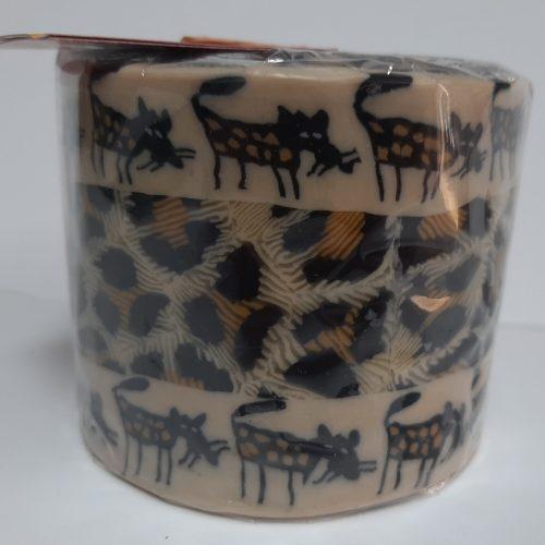 Fairtrade Swazi kaars in luipaardprint met luipaarden boven en onderlangs