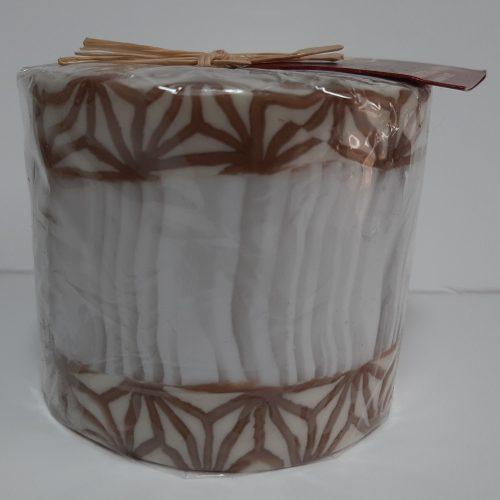 Fairtrade Swazi kaars in wit met bruin bloemmotief boven en onderlangs
